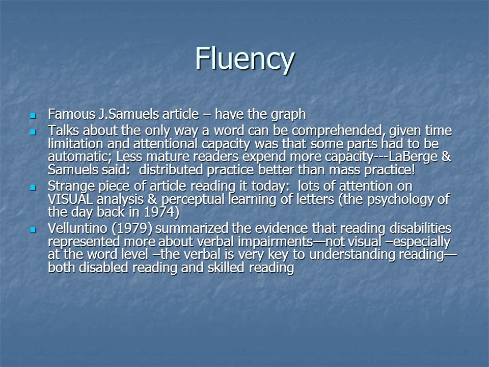 Fluency Famous J.Samuels article – have the graph