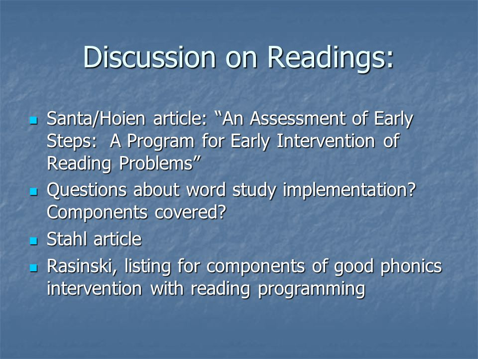 Discussion on Readings: