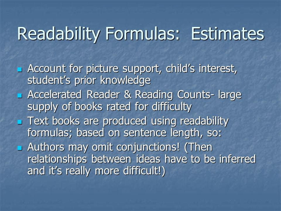 Readability Formulas: Estimates