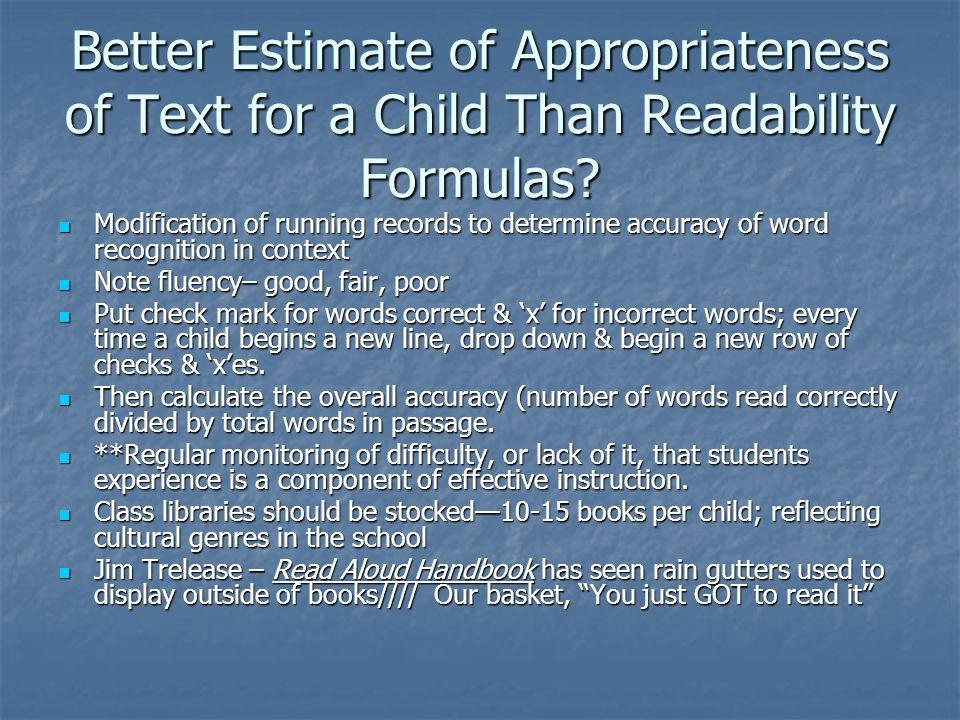 Better Estimate of Appropriateness of Text for a Child Than Readability Formulas