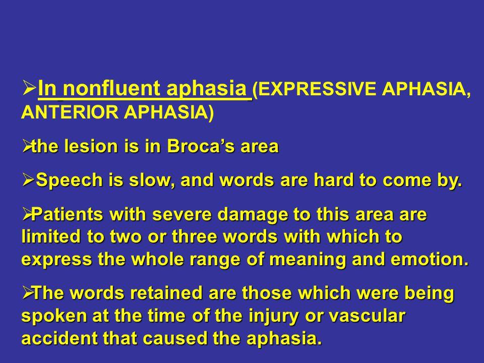 In nonfluent aphasia (EXPRESSIVE APHASIA, ANTERIOR APHASIA)