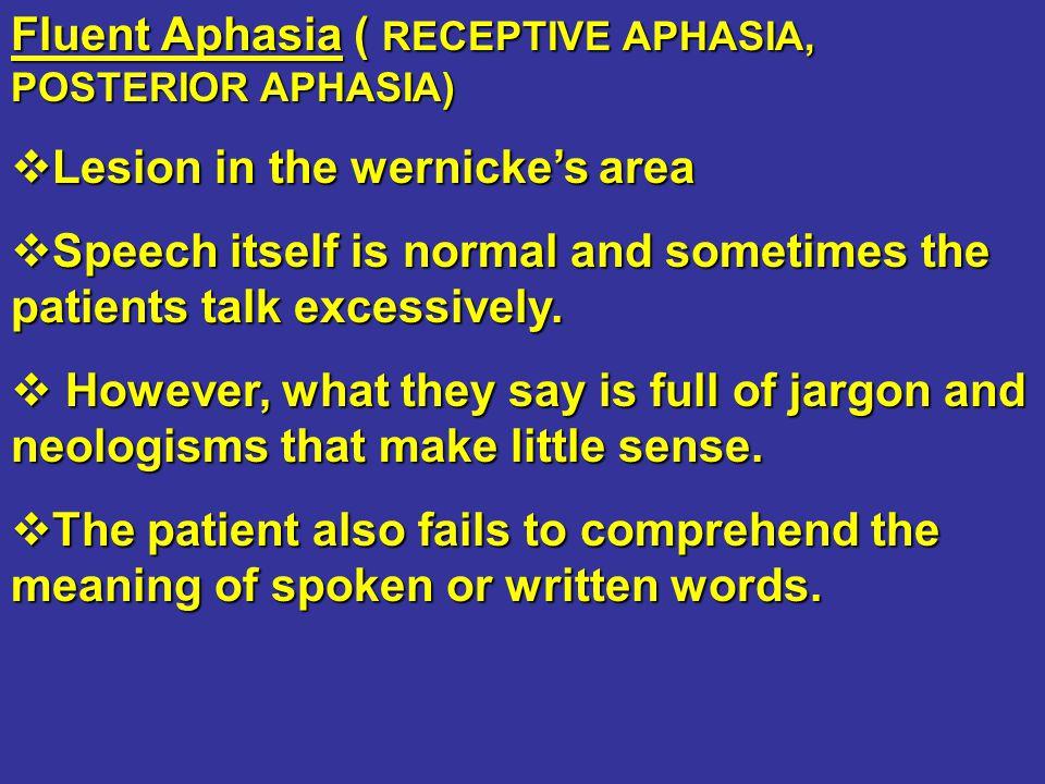 Fluent Aphasia ( RECEPTIVE APHASIA, POSTERIOR APHASIA)