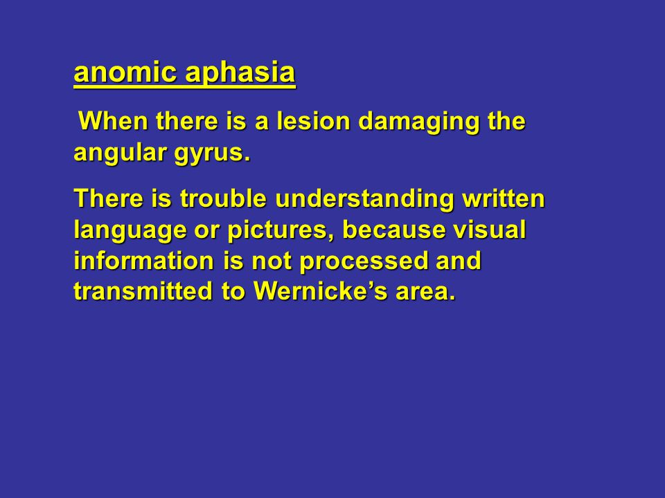 anomic aphasia When there is a lesion damaging the angular gyrus.