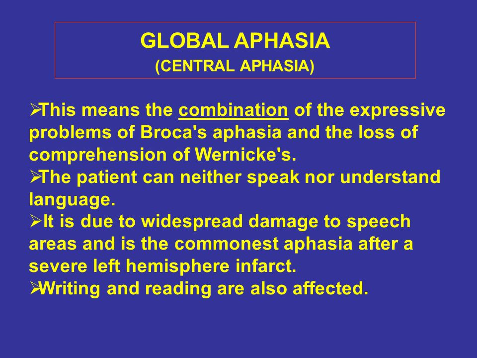 GLOBAL APHASIA (CENTRAL APHASIA)