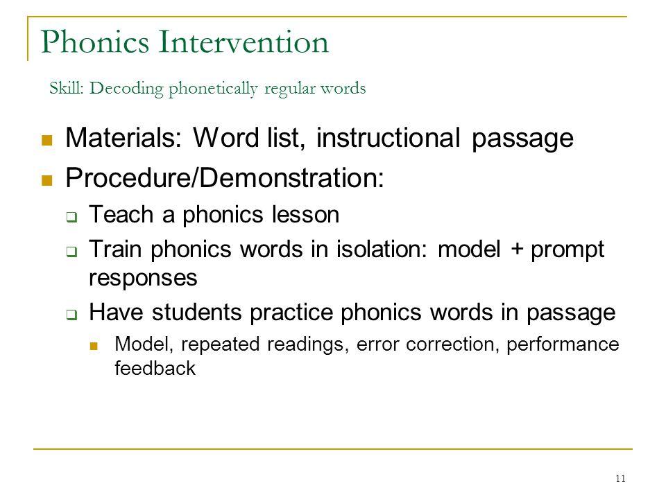 Phonics Intervention Skill: Decoding phonetically regular words
