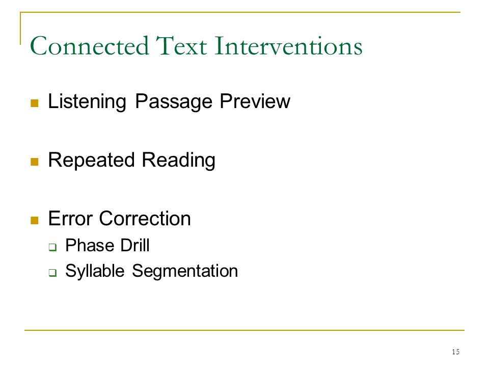 Connected Text Interventions