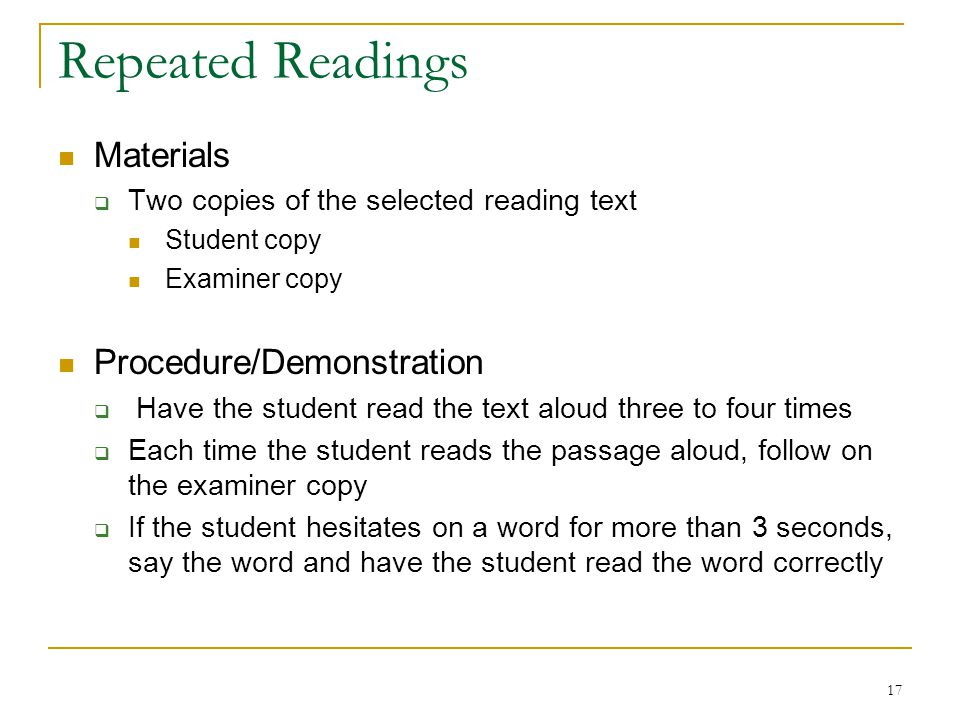 Repeated Readings Materials Procedure/Demonstration