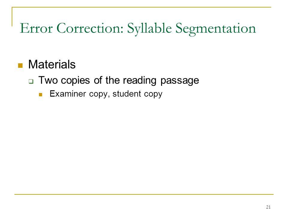Error Correction: Syllable Segmentation