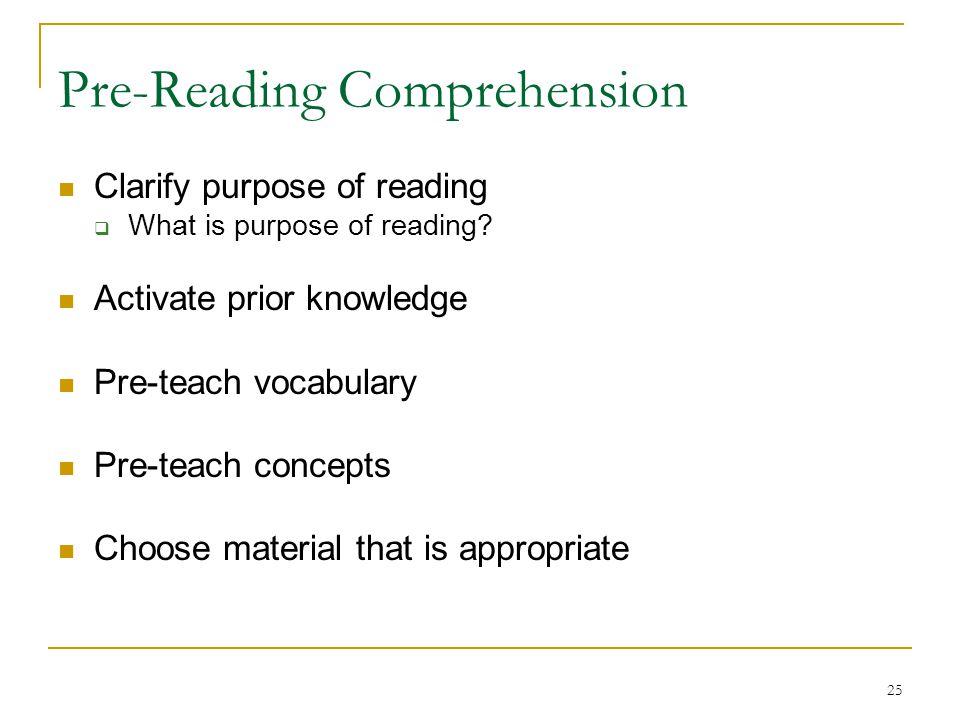 Pre-Reading Comprehension