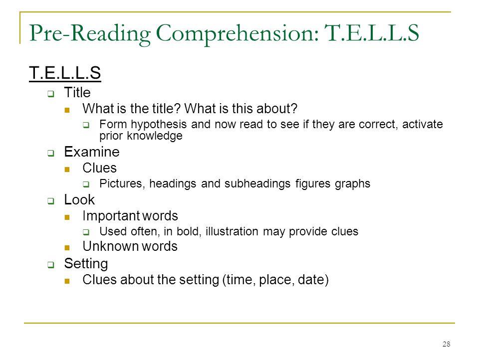 Pre-Reading Comprehension: T.E.L.L.S