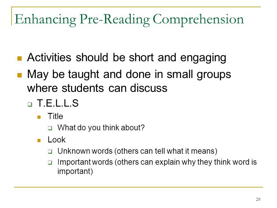 Enhancing Pre-Reading Comprehension