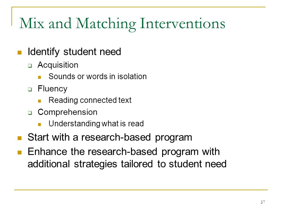 Mix and Matching Interventions