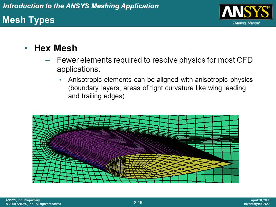 Mesh Types Hex Mesh. Fewer elements required to resolve physics for most CFD applications.