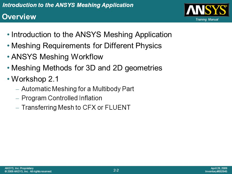 Introduction to the ANSYS Meshing Application