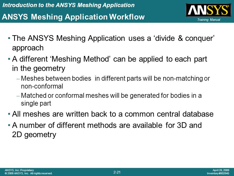ANSYS Meshing Application Workflow