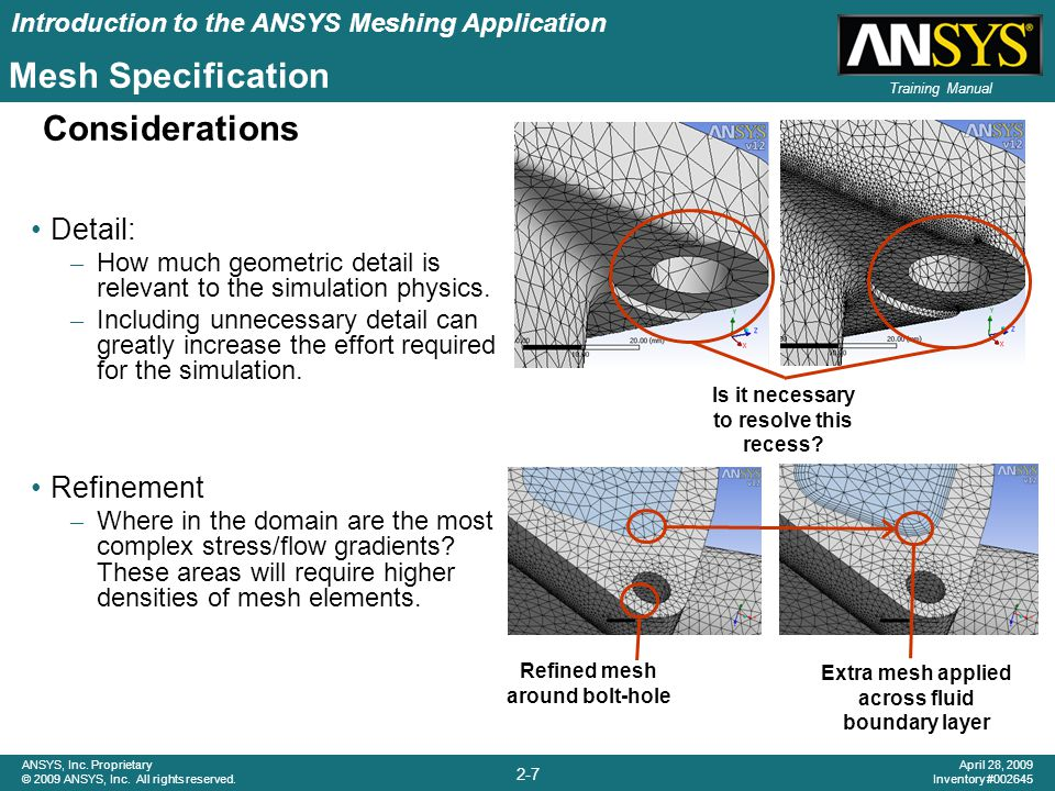 Mesh Specification Considerations Detail: Refinement