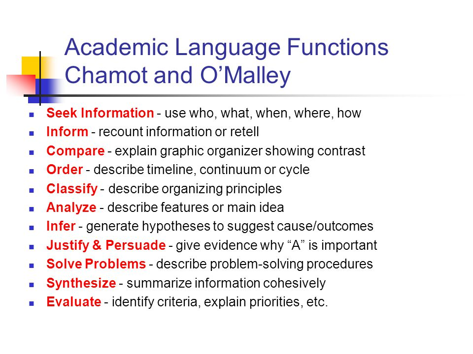 Academic Language Functions Chamot and O'Malley