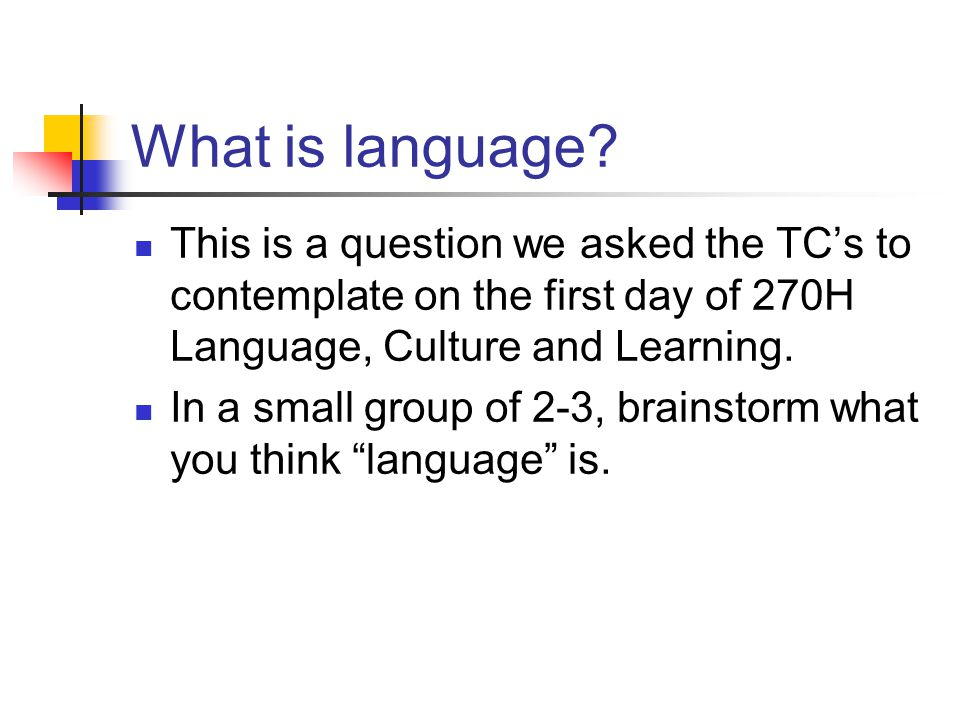 What is language This is a question we asked the TC's to contemplate on the first day of 270H Language, Culture and Learning.