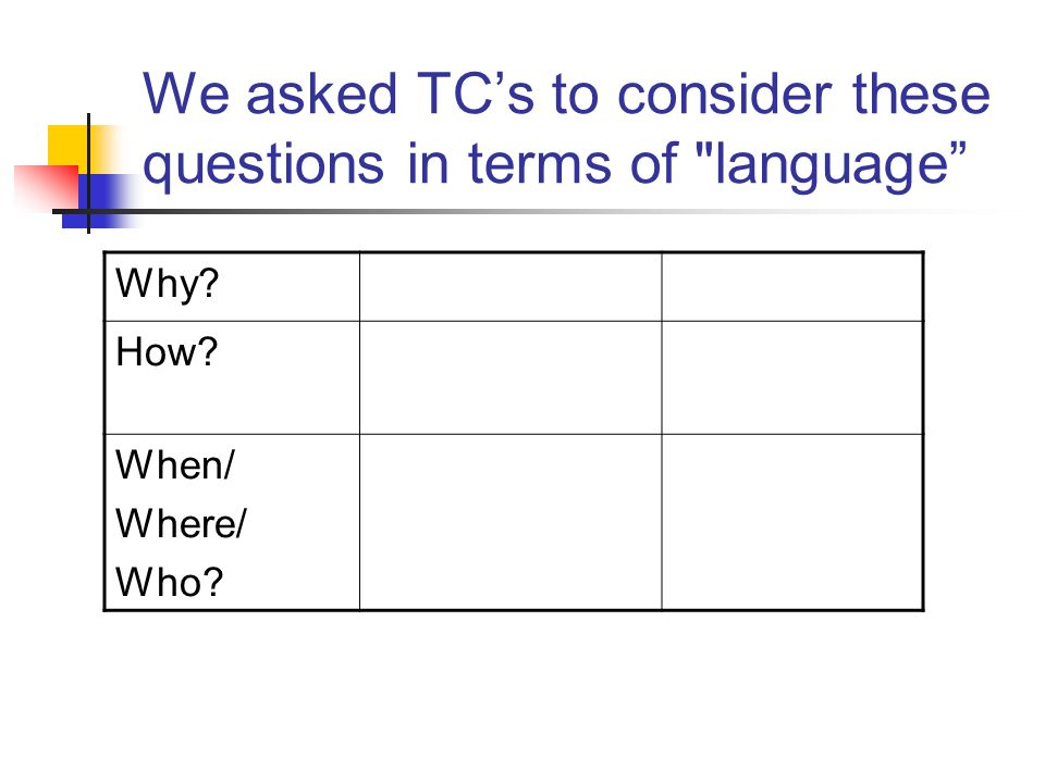 We asked TC's to consider these questions in terms of language