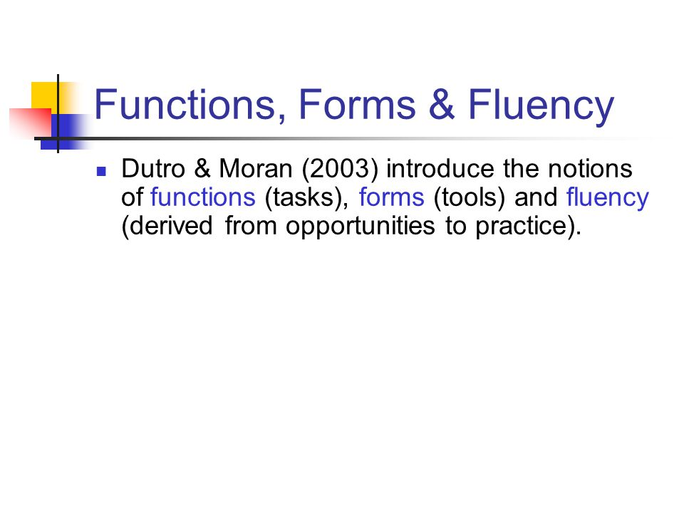 Functions, Forms & Fluency