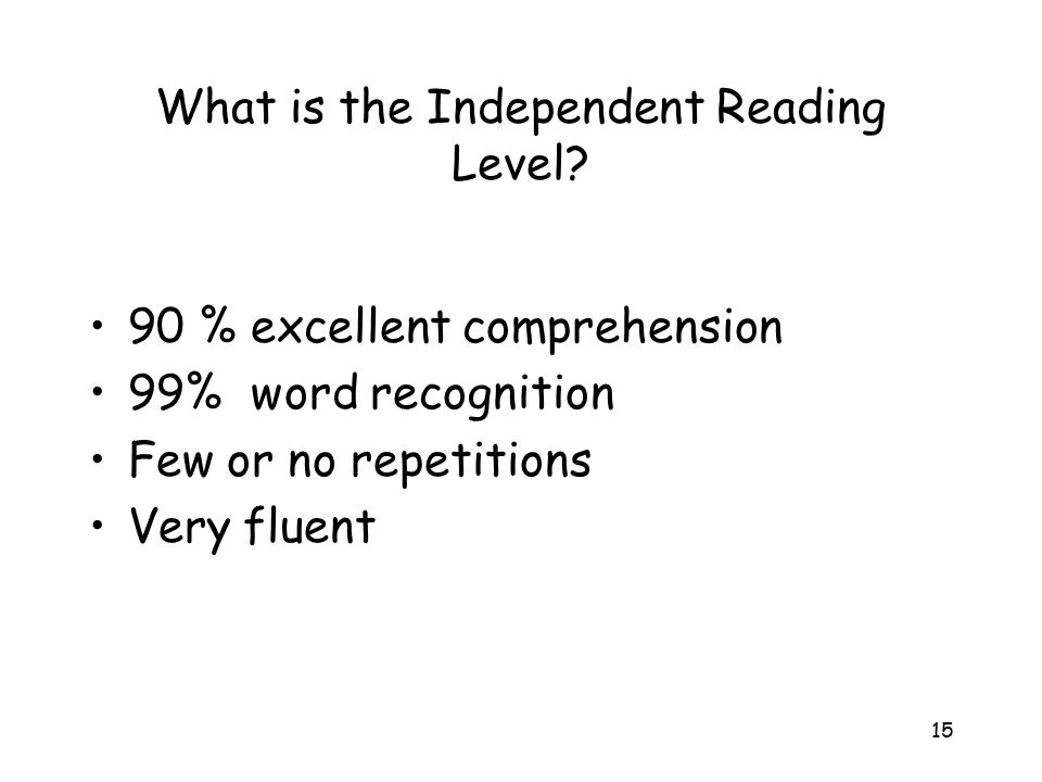 What is the Independent Reading Level