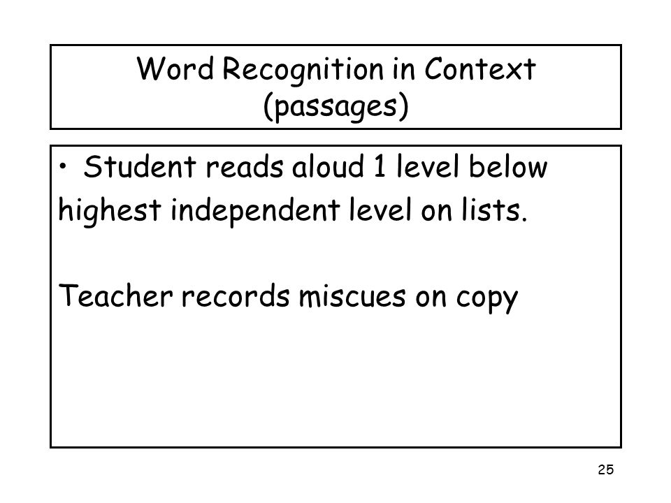 Word Recognition in Context (passages)