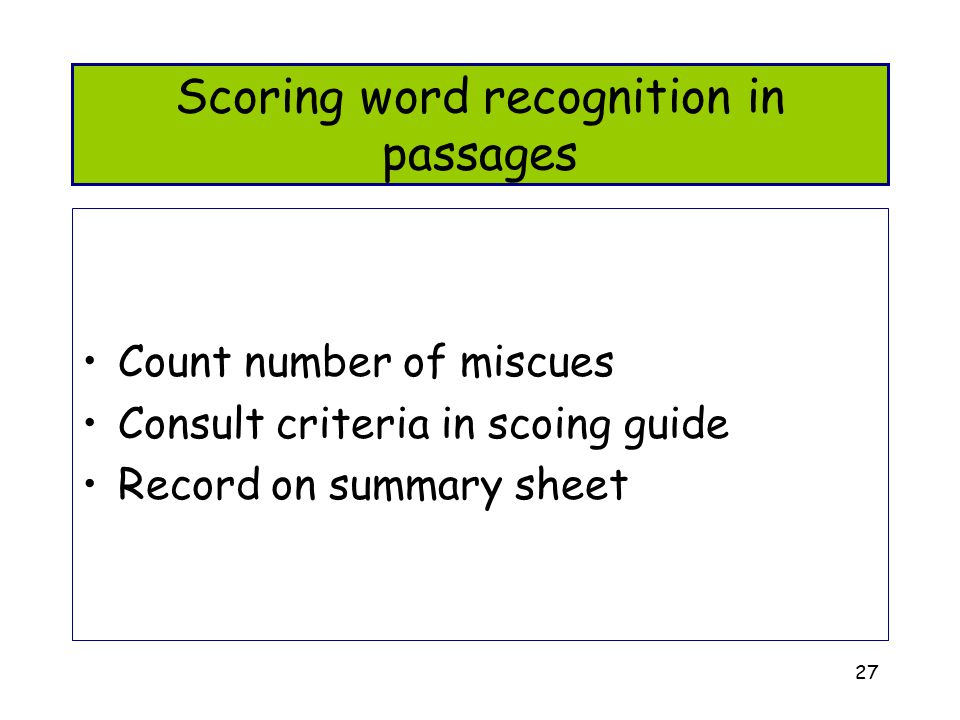 Scoring word recognition in passages