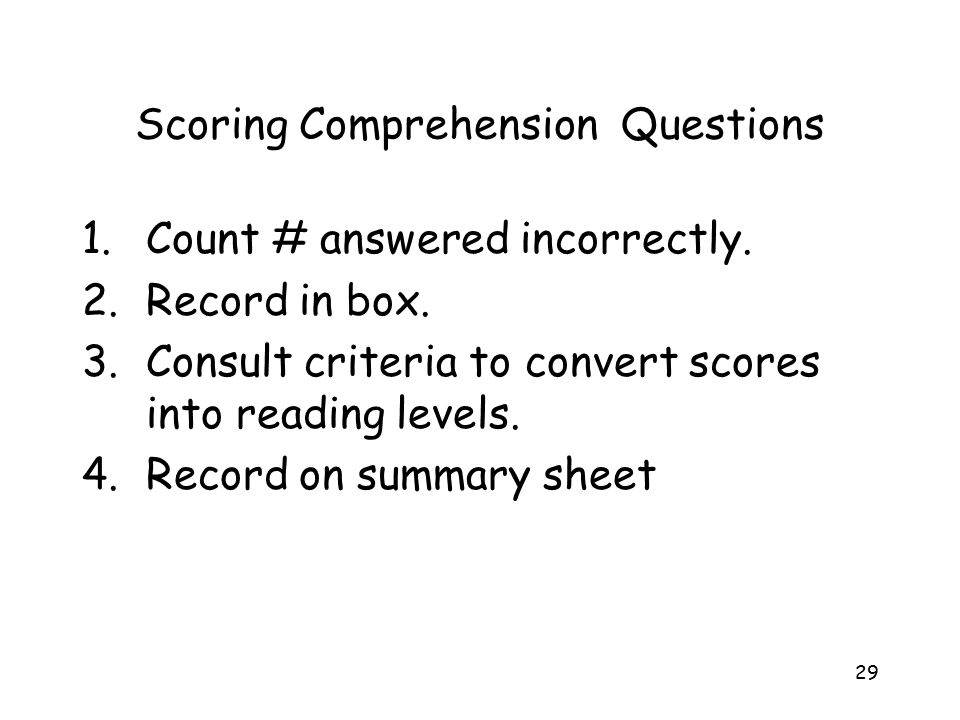 Scoring Comprehension Questions