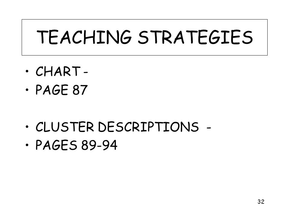 TEACHING STRATEGIES CHART - PAGE 87 CLUSTER DESCRIPTIONS - PAGES 89-94