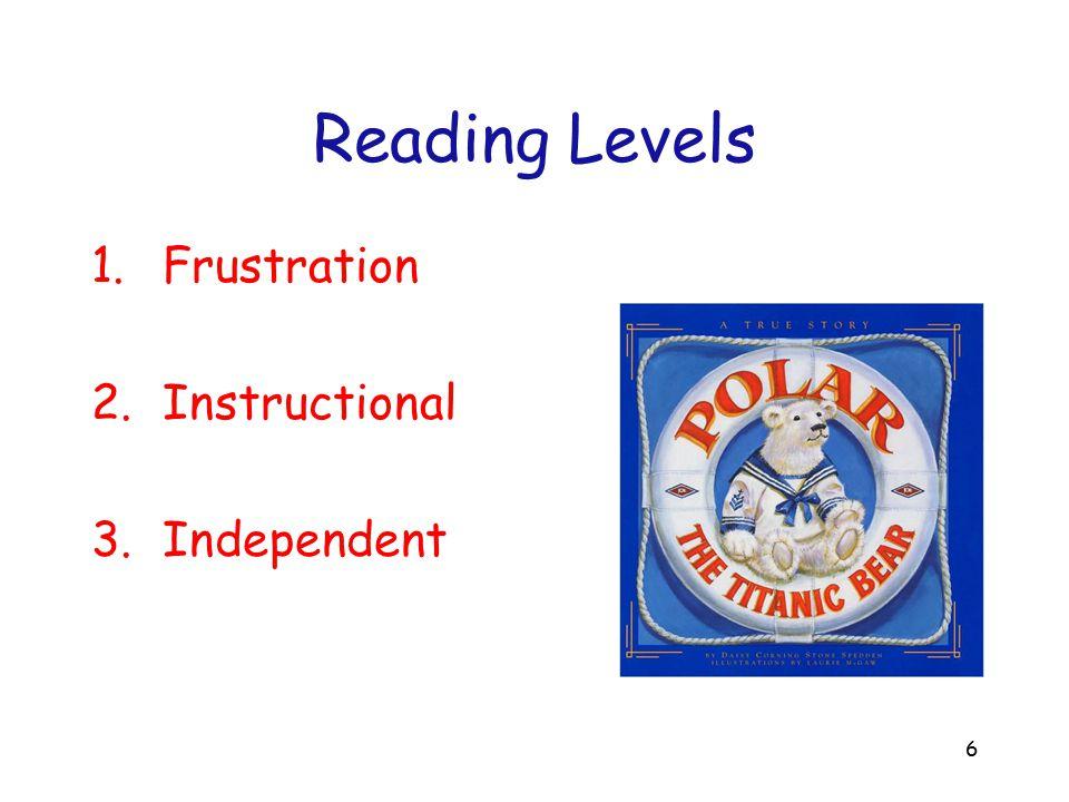 Reading Levels Frustration Instructional Independent