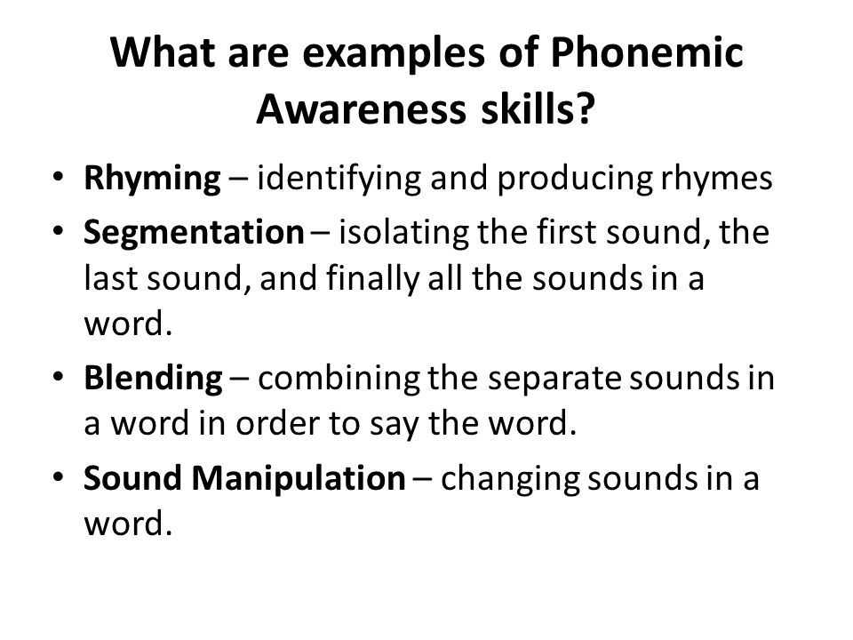 What are examples of Phonemic Awareness skills