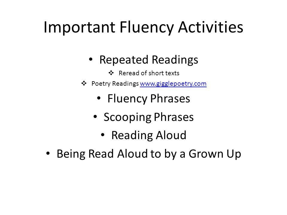 Important Fluency Activities