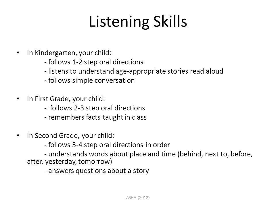 Listening Skills In Kindergarten, your child: