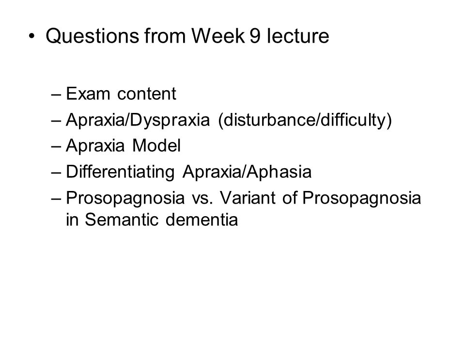 Questions from Week 9 lecture