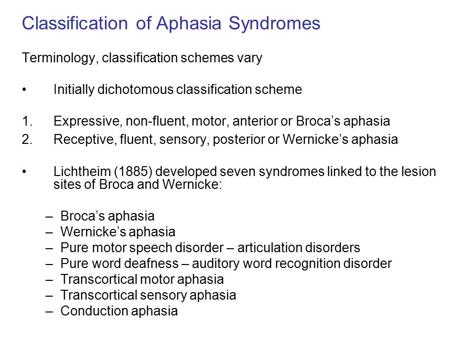 Classification of Aphasia Syndromes