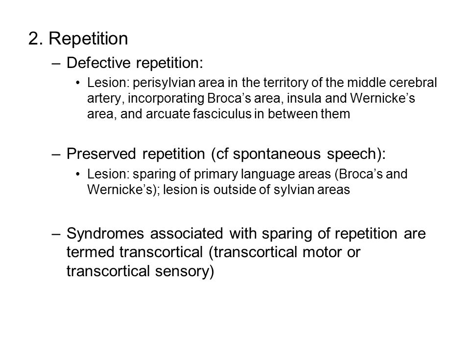 2. Repetition Defective repetition: