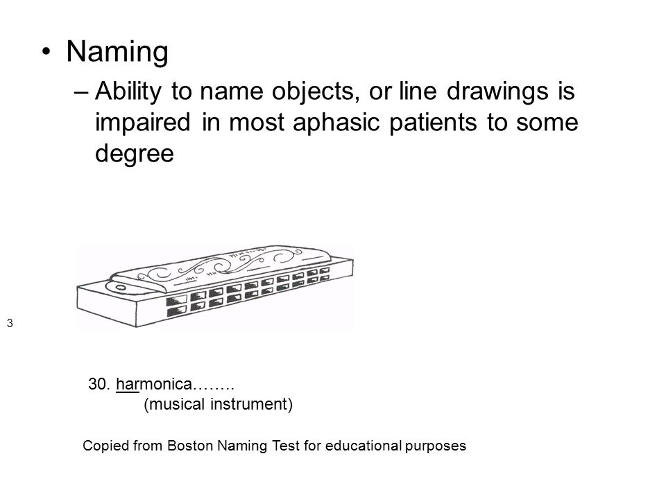 Naming Ability to name objects, or line drawings is impaired in most aphasic patients to some degree.