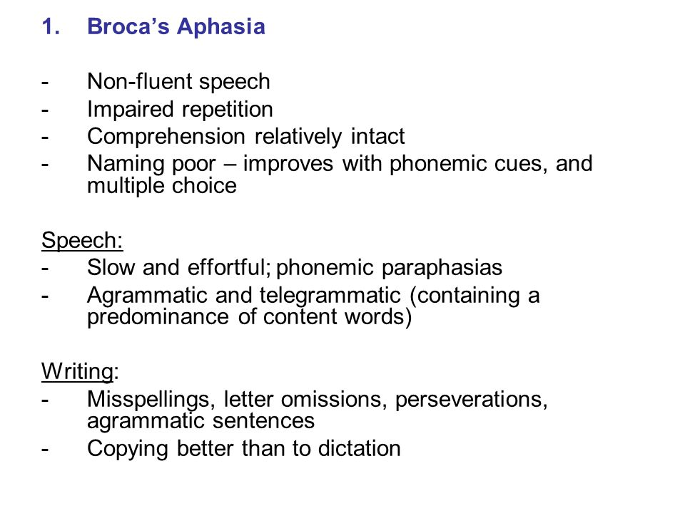 Broca's Aphasia Non-fluent speech. Impaired repetition. Comprehension relatively intact.