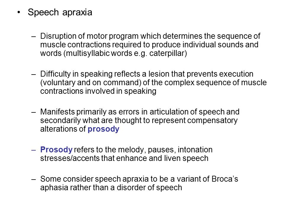 Speech apraxia