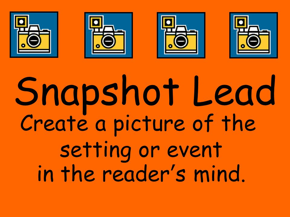 Snapshot Lead Create a picture of the setting or event