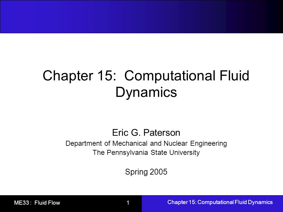 Chapter 15: Computational Fluid Dynamics