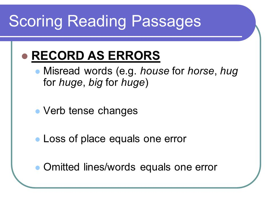 Scoring Reading Passages
