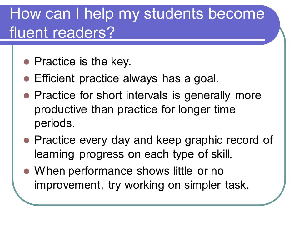 How can I help my students become fluent readers