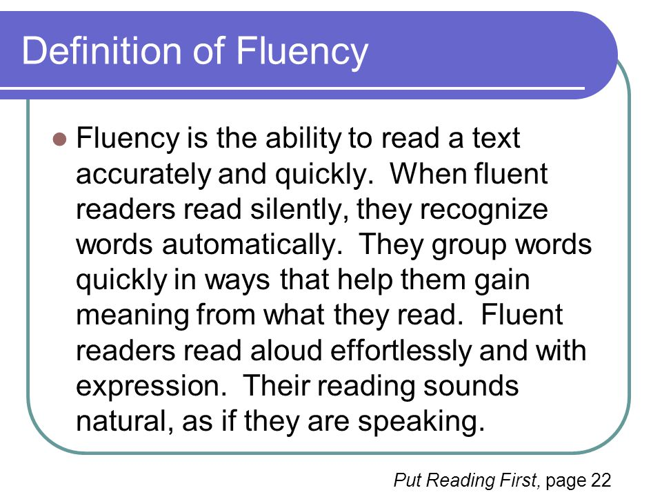 Definition of Fluency
