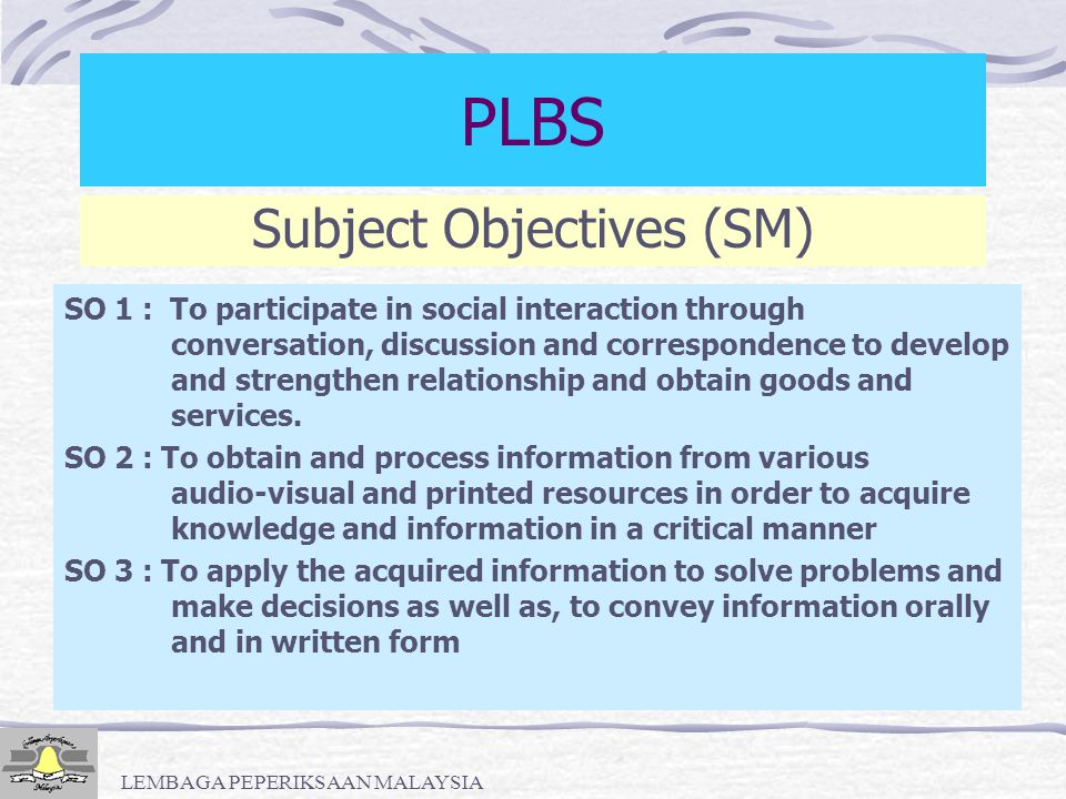PLBS Subject Objectives (SM)