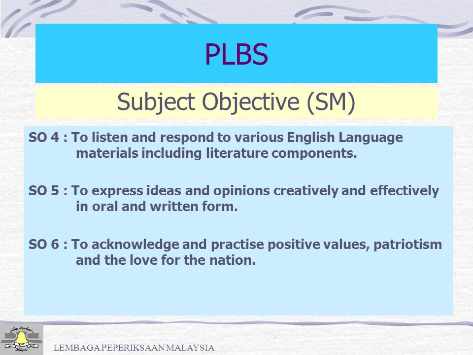 PLBS Subject Objective (SM)