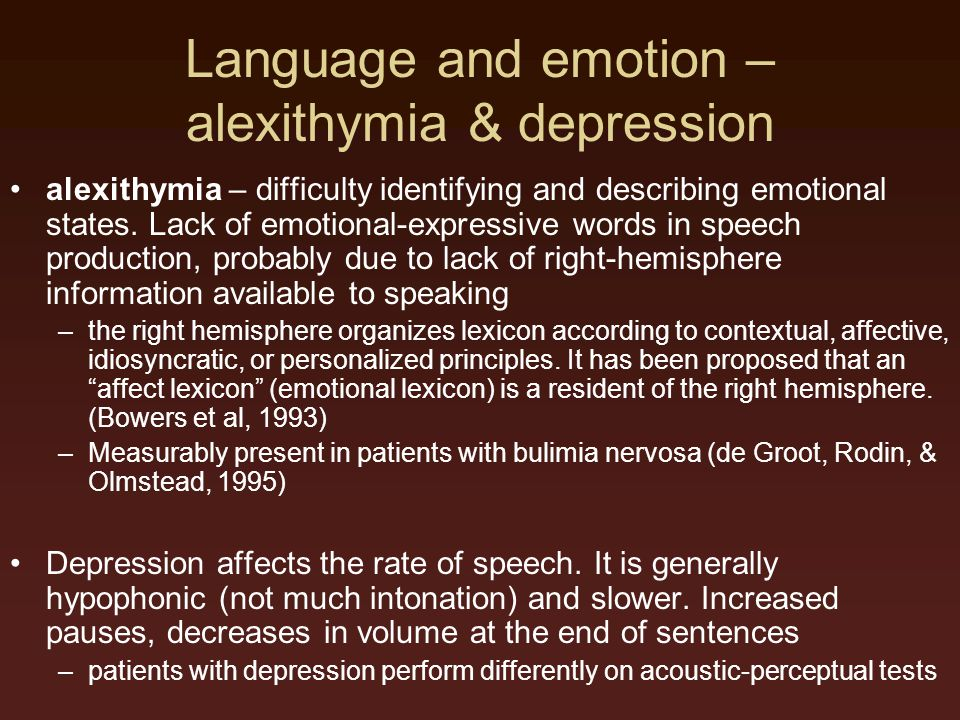 Language and emotion – alexithymia & depression