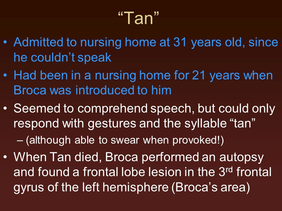 Tan Admitted to nursing home at 31 years old, since he couldn't speak. Had been in a nursing home for 21 years when Broca was introduced to him.