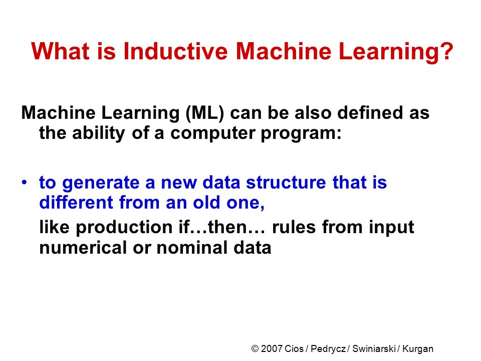 What is Inductive Machine Learning