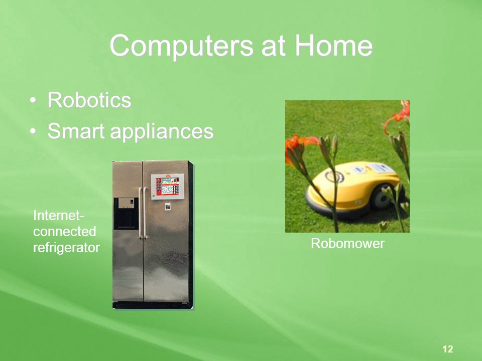 Computers at Home Robotics Smart appliances